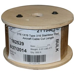 1 / 8 X 250 FT 1X19 Type 316 Stainless Steel Cable